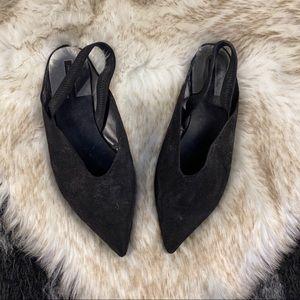 Zara pointed slingback suede flats 38 7.5 8